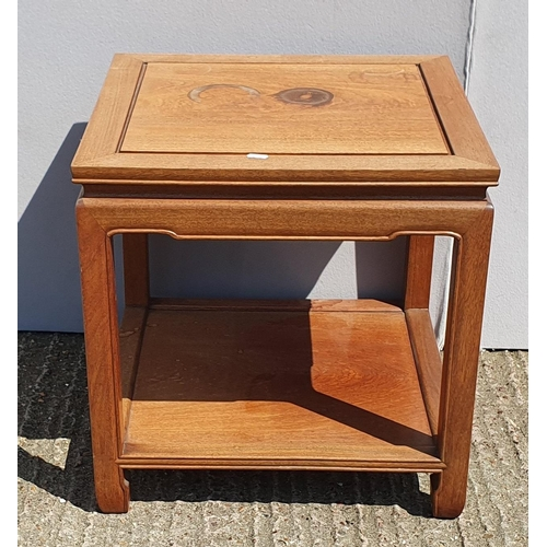 29 - Oriental Style Square 2 Tier Lamp Table, Painted Lloyd Loom Style Low Nursing Chair on short cabriol...