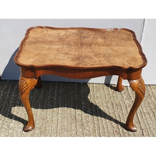 31 - Quarter Veneered Walnut Coffee Table with frilled rim, on shell carved cabriole pointy toe supports ...