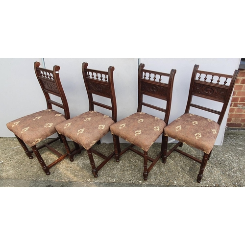 35 - Set 4 Victorian Arts & Crafts Influence Oak Side Chairs with overstuffed seats, on turned & fluted f...