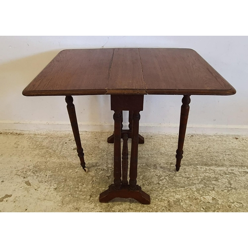 46 - C19th Oak Sutherland Table with gate leg action, on slender turned supports (A1/FWL)...