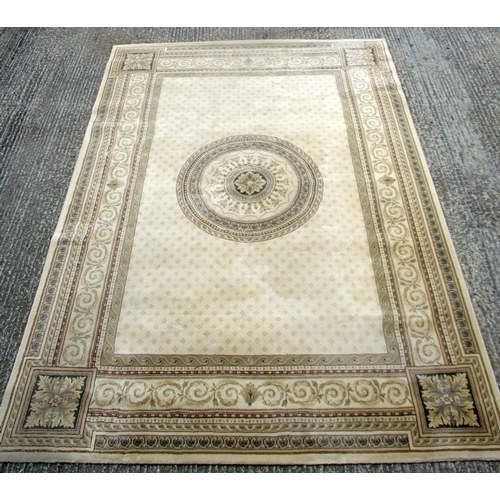 54 - Large Wool Rug with cream ground & multiple borders (BWL)...