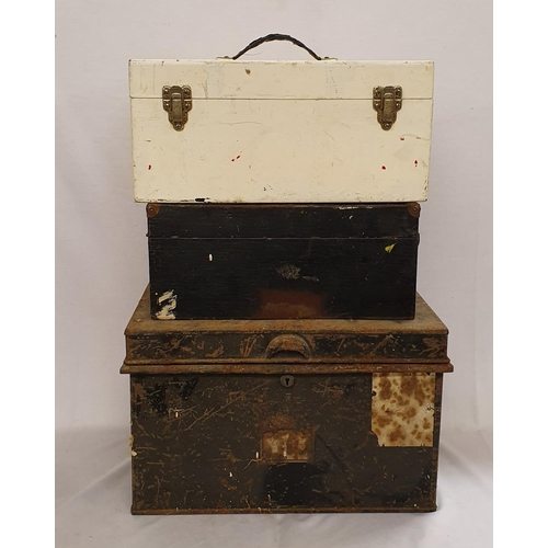 2 - Japanned Metal Deed Box with carrying handles, White Painted Plywood Box & Table Top Gramophone Case...