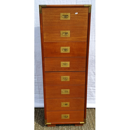 7 - Tall 8 Drawer Military Style Veneered Chest with recessed handles, brass strapwork (A1)...