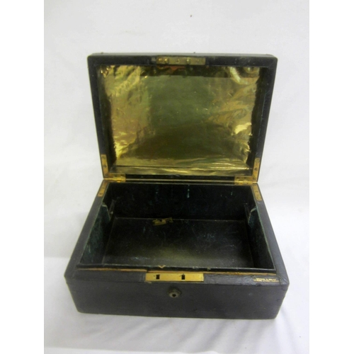 1 - C19th Leather Covered Deed Box for restoration (no interior) (A9)...