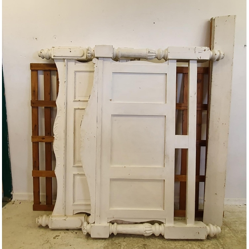 12 - White Painted Kingsize Double Bed Frame on fluted & turned supports (A14)...