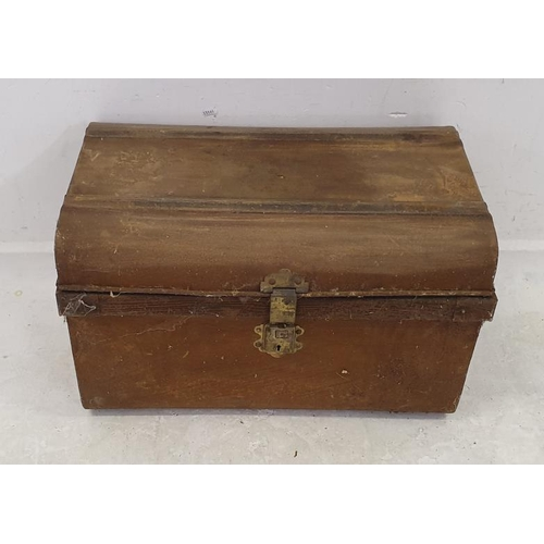 32 - Dome Topped Metal Trunk with hasp, simulated wood finish (A10/11)...