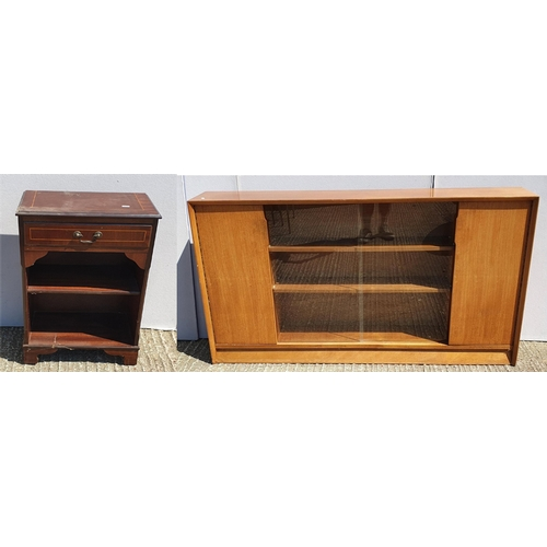 27 - Reproduction Dwarf Open Bookcase with frieze drawer, on bracket supports & Retro Teak Dwarf Bookcase...