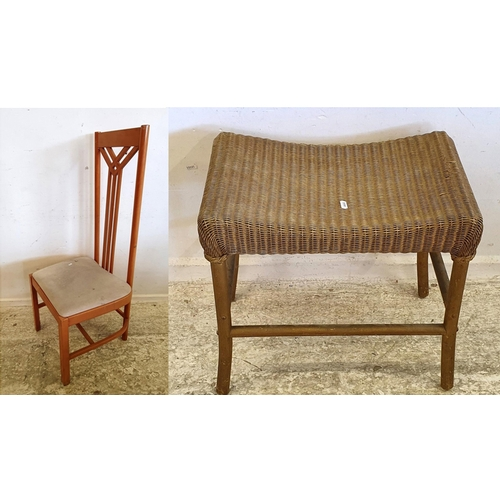 42 - Modern High Back Art Nouveau Style Side Chair &  Lloyd Loom Gold Painted Saddle Seated Stool on bent...