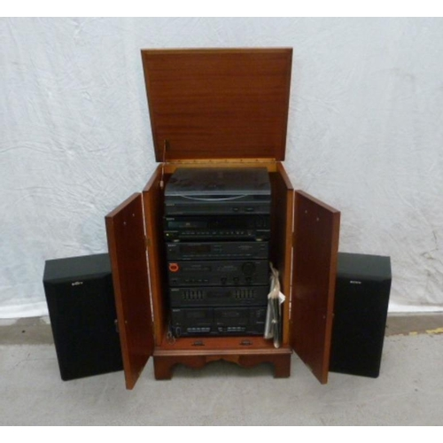 4 - Reproduction Style Hi Fi Cabinet with pair panelled doors, dummy drawers to front, swan neck handles...