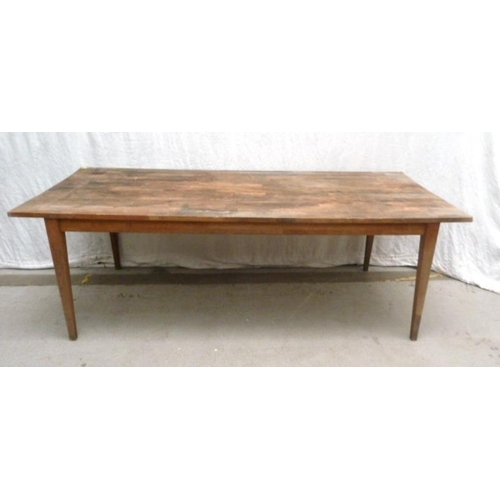 21 - Large Farmhouse Style Refectory Table on square tapering supports (A10/11)...