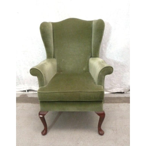 22 - Parker Knoll Green Draylon Wing Armchair on cabriole pad footed supports (A8/9F)...