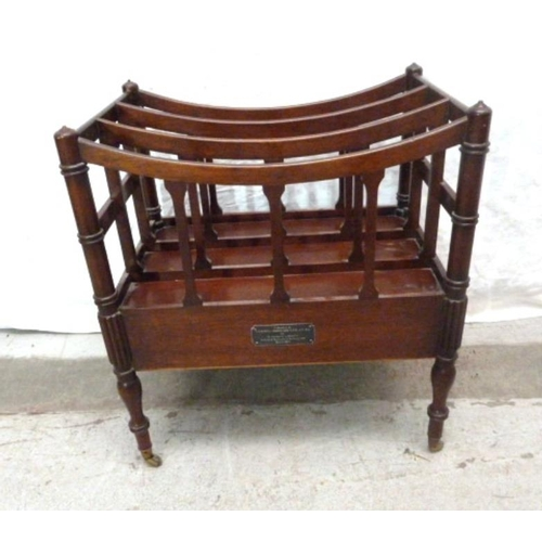 24 - Reproduction Mahogany Music Canterbury with presentation inscription, on brass castors (A5F)...