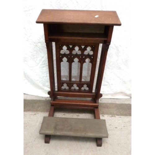 28 - Church Oak Gothic Style Kneeling Stool with padded rests (VAN)...