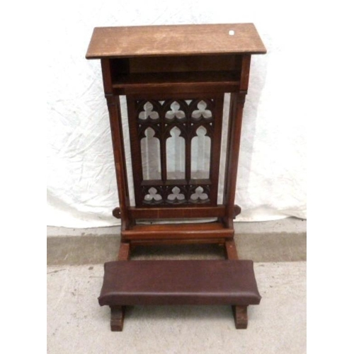 29 - Church Oak Gothic Style Kneeling Stool with padded rests (VAN)...