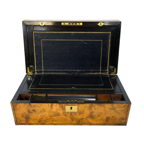 6 - Mid C19th Large Walnut Writing Box with brass strung inlay, brass edges, hinged top, interior with t...