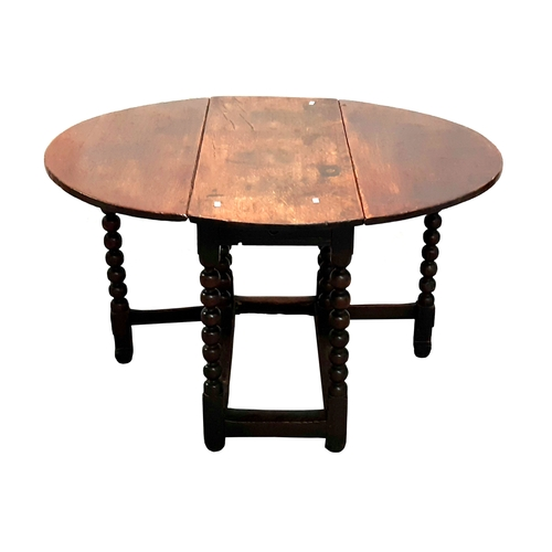 7 - C17th Bobbin Turned Oak Gate Leg Table with rule joints, square section stretchers, approx. 36
