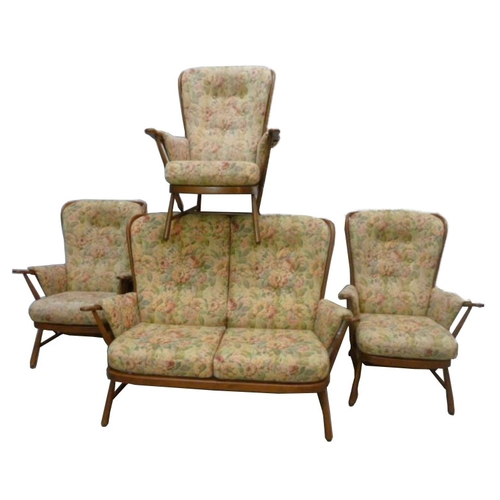 22 - Ercol Cottage Suite incl. 3 armchairs with scoop shaped backs & 2 seater settee (4)...