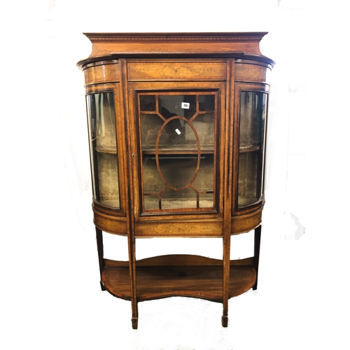 20 - Late Victorian/Edwardian Marquetry Inlaid Mahogany Bow Fronted Side Cabinet on square section spade ...