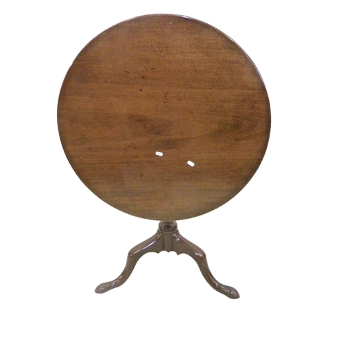 34 - Georgian Mahogany Circular Snap Top Occasional Table on vase turned centre column, tripod supports, ...