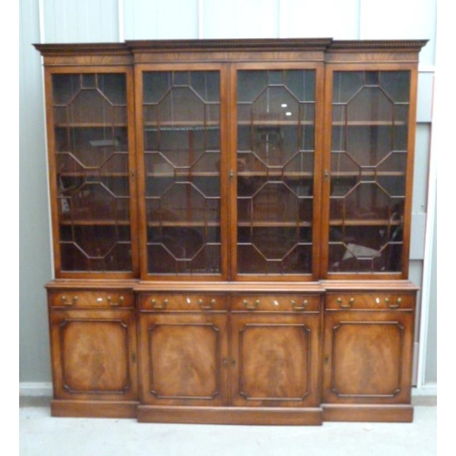 18 - Georgian Style Break Front Bookcase, lower section on plinth base, pair doors to each end & centre, ...