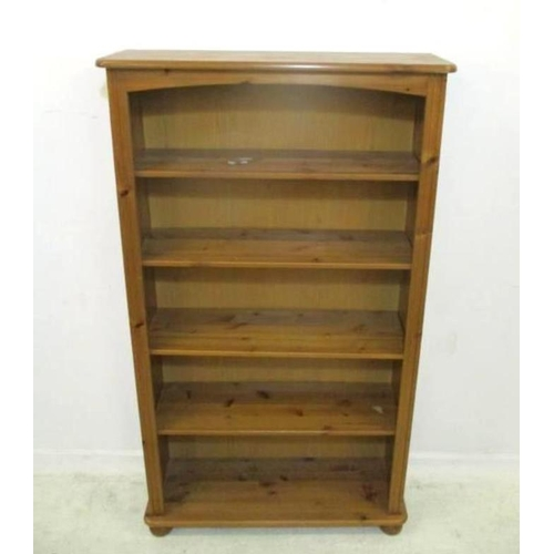 14A - Set Open Varnished Pine Bookshelves on bun supports, approx. 82cm W x 26cm D x 153cm H (A4)...