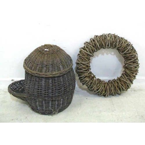22A - Wicker Basket with lift off cover & Cane Wreath? (2) (A1B)...