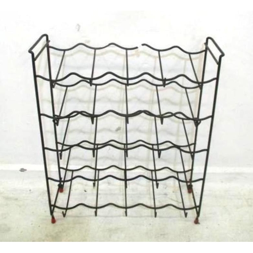 23A - Modern 25 Bottle Wire Wine Rack on small red supports (FWL)...