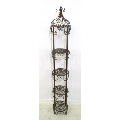 26A - 4 Tier Circular Wrought Metal Plant Stand with domed top, scrolling supports (A7F)...
