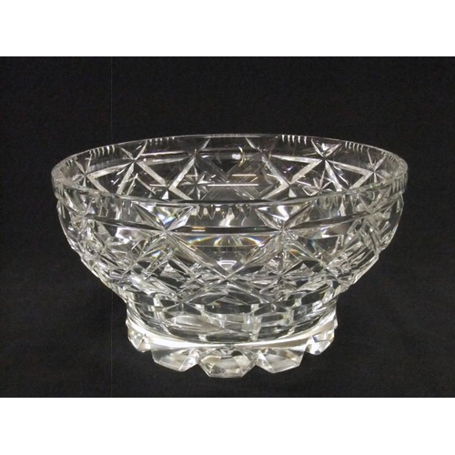 31 - Cut Crystal Deep Footed Trifle Dish, castellated foot rim, approx. 9
