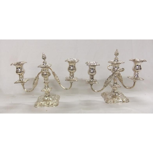9 - Pair Silver Plated 3 Branch Candelabrum, each with detachable sconces, flambé central finials, appro...