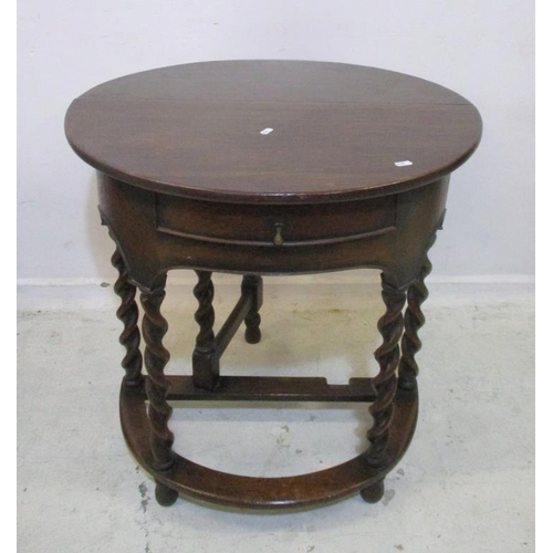 29A - Barley Twist Drop Flap Hall Table with shaped apron base (A7B)...