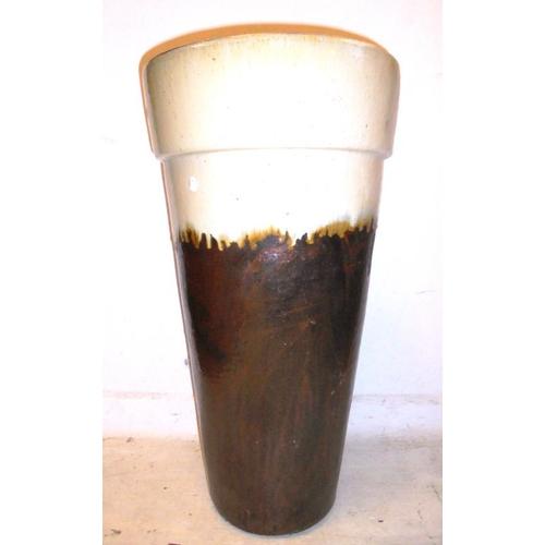 3A - Large Pottery Planter cream rim, brown glazed base (BWL)...