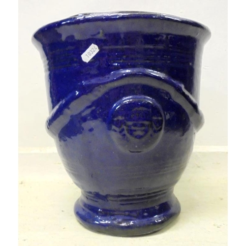7A - Blue Glazed Pottery Planter with banded design (BWL)...