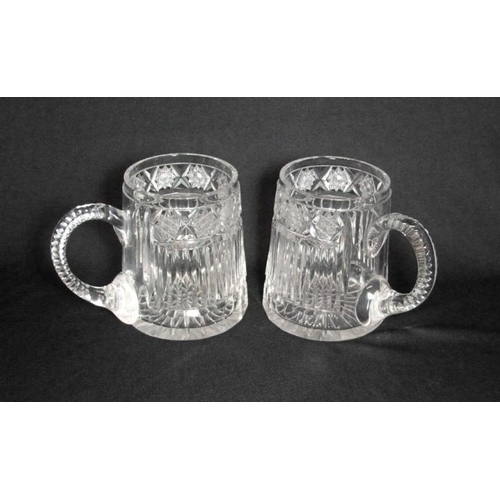 32 - Pair Cut Crystal Beer Mugs with fluted & star cut bodies (2)  (CABINET 7)...