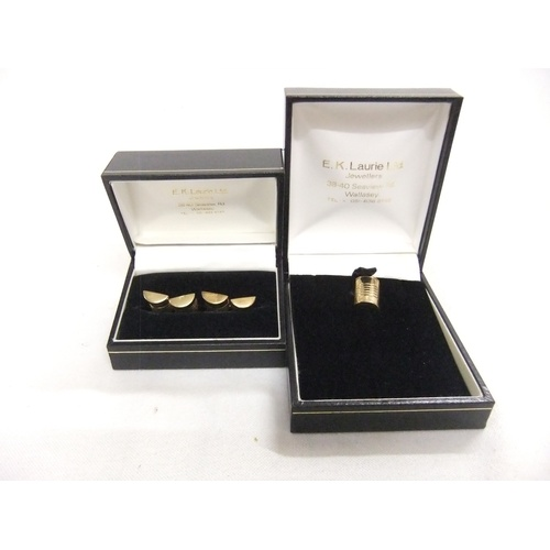 102 - Pair 9ct Gold Barrel Shaped Cufflinks & Matching 9ct Gold Stick Pin...