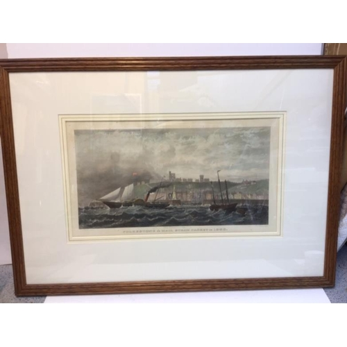 24 - Folkestone and Mail Steam Packet in 1850. Rare hand-coloured steel engraving 10x18inches to plate ma...