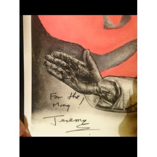 """23 - Signed Jeremy Corbyn poster """"For the Many"""" Donated by Councillor Michelle Keutenius. Framed..."""