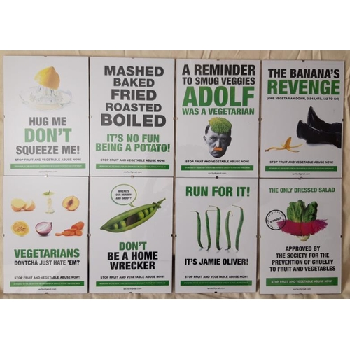 6 - Vegetable Rights Prints set of 8 in clip frames kindly donated by Nick Carpenter, Carpenter's House ...