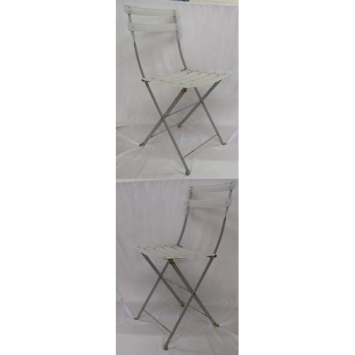 1 - Pair Folding Grey Painted Metal Chairs (2) (A8)...