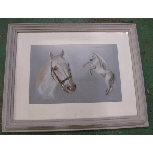 300 - Large F/g Watercolour White Horse, signed Alexandra M, approx. 36