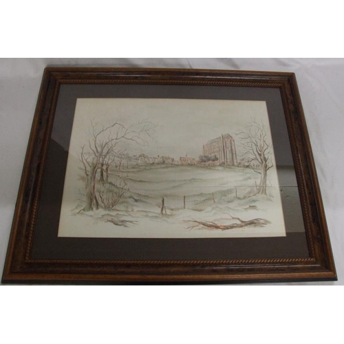 303 - Pair F/g Ink/Watercolours Lancing College Sussex, signed, each approx. 29