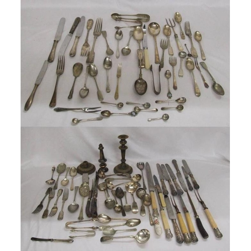 849 - Silver Plated & Other Mixed Cutlery incl. carving sets, pair Old Sheffield plate candlesticks for re...