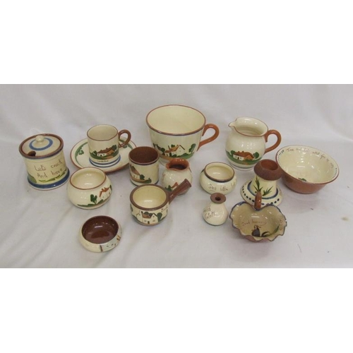 633 - Motto Ware incl. oversized cup, tobacco jar, bowls, dishes, candle holder, mug, jugs etc....