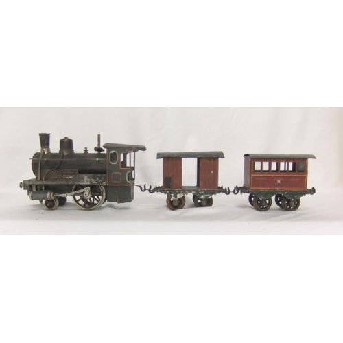 803 - Bing 1 Gauge Live Steam Black Painted Loco 022 with red coach lines, 1 Gauge (45mm) 2nd Class Carria...