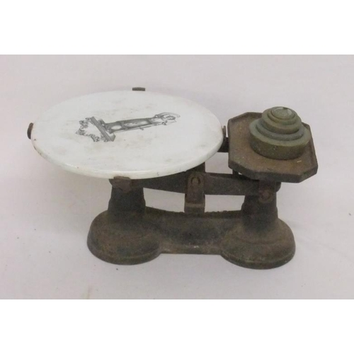 847 - Set Cast Iron Kitchen Scales with ceramic pan & nest of brass weights...