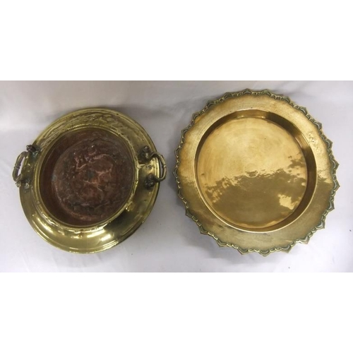 969 - Large Deep Brass Tray with frilled edge & Circular 2 Handled Middle Eastern Spitoon with copper bott...