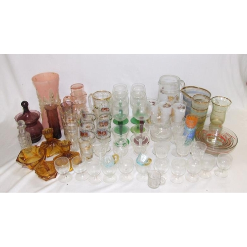 941 - Glassware incl. amber dressing table set, silver jubilee glasses, green stemmed wine glasses, retro ...