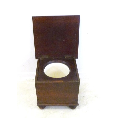 15 - Mahogany Commode with hinged cover (FWR)...