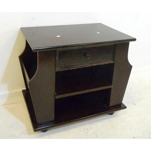 29 - Dark Stained Lamp Table/Magazine Rack (A3)...