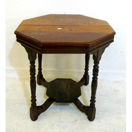 30 - Victorian Walnut Hexagonal Center Table on turned supports with raised under tier (A1)...